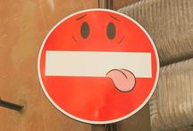 Road signs, Facce d'accesso / Painted road signs across Europe