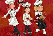 Shari Warren Chef & Waiter Artwork / Artist Shari Warren artwork you can purchase a fine art prints and canvases for home decor. Images are also available for art licensing for consumer products.