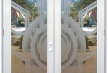 Glass Doors - Same Design in Different Effects! / Glass doors with etched and frosted designs by Sans Soucie will provide the privacy you need, thru beautiful works of art captured in glass.  All glass is hand sandblast etched and can be executed in a variety of ways, resulting in not only a different look, but a different price.   Using our beautiful Sun Odyssey design to demonstrate, all the doors on this board feature the same design, done in different sandblast or leaded glass effect