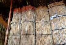 玉露の覆いになるよしずの作り方(並び替え) / ヨシを縄で編んで、よしずを作ります。 京都府宇治市白川の茶業研究所で体験してきました。 2013-02-13
