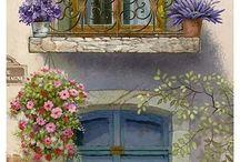 kapı ve çiçek manzarası