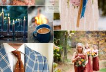Blue, browns and mustard wedding theme