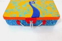 Decorative Boxes / Exclusive collection of hand painted boxes, porcelain boxes, trinket boxes, trays, coasters and much more on www.artbugs.in