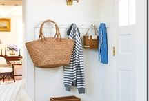 Entryways and Mudrooms / staircase, stairs, entry, mudroom, bench, storage, shelf, home, front door, closet, stair runner, stairway, foyer, foyers, coat rack, rack, mud room, hooks, hall tree