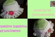 cappellini per bambina all'uncinetto tutorial / Video-tutorial per la realizzazione di un cappellino per bambina all'uncinetto
