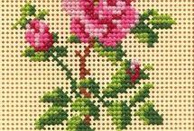 rosa pto de cruz