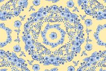 My Fabric/wallpaper designs / These are the designs I have created by hand in watercolour on paper and sell through my print on demand online store at Spoonflower on different fabrics, removable wallpaper, wall decals and wrapping paper.