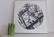 Copenhagen Maps / Painting is made of ink, acrylic and watercolor