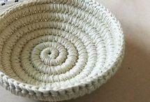 crocheted mats, bags, baskets