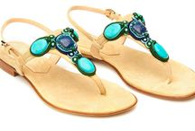 Flat Sandal with Turquoise Stones