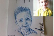 Portraits monochromes / Papier dessin A4