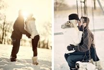 Posing couple on winter