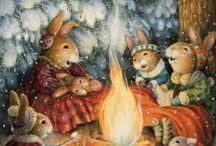 зима у зайчат