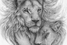 drawings and tattoos of animals