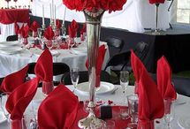 Red and white wedding reception