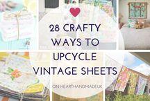 Vintage sheets, hankies, and linens.