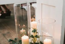 Decorations / Candles, flowers, fabric, lights