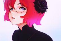 art redhead purple eye