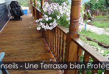 Teindre et Protéger une Terrasse en Bois Traité / Conseils et instructions avec illustrations pour teindre une terrasse ou patio en bois traité. Choix de revêtements haute performance et méthode d'application.