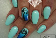 manicures turquise blue green