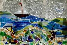 Sea Glass / Vintage Glass Art / Vintage glass on vintage windows