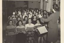The Choral Forces / Mount Holyoke choirs & choral groups through the ages. Photos from the Mount Holyoke College Archives Digital Collections.