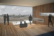 Great Fens Visitor Centre / Our long-listed competition entry for the Cambridgeshire Great Fens wetlands visitor's centre demonstrates a high level of sustainability, community involvement, and striking use of form. Inspired by timber bird-watching towers, the main building soars upward, providing an outstanding observation area; a landmark in a very flat landscape.