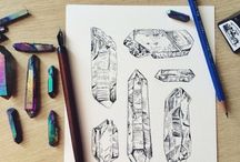 Cristal, iron, rocks