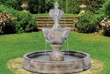 Medium Two Tier Leonesco Fountain in Valencia Pool / http://www.thegardenfountainstore.com/medium-two-tier-leonesco-fountain-in-valencia-pool