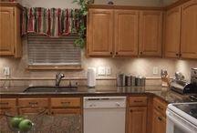 Kitchens White Appliances Light Cabinets Granite Countertops