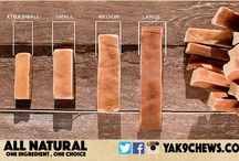 Yak-9 Dog Chews / We use 100% yak milk as our only ingredient - no cow milk, no lime, no salt, no added preservatives, and no GMO's. We use all natural grass fed yak's milk in our chews. Our chews can be enjoyed by senior dogs with sensitive allergies, teething puppies, and every K-9 in between.