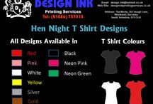 Hen night t-shirt designs / A selection of t-shirt designs suitable for a hen night party. Names can be changed to suit. T-shirts from £10 each, postage from £2.80. Email design.ink@hotmail.co.uk
