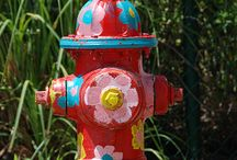 Painted fire hydrants and street signs / by ATTITUDE ADJUSTMENT - Marty Whitney