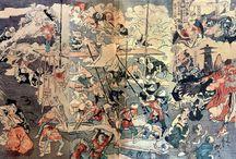 日本 * Каванабэ Кёсай * 河鍋暁斎 * Kawanabe Kyōsai / Каванабэ Кёсай — японский художник школы Кано, график, иллюстратор. Также известен как Gyôsai Chikamaro и под псевдонимами Сэйсэй Кёсай, Сюрансай, Байга Додзин.