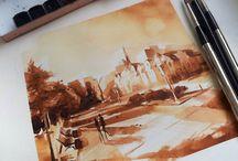 Watercolour/ Sepia