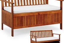 Wooden Garden Bench Storage Box Patio Furniture Seat Chair Cushion Out Door Lawn
