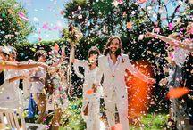 70s vibe wedding / Editorial: black bride with natural hair, urban setting.