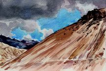 The Ladakh Series / A series of paintings by Venugopal, watercolor on paper (www.emorart.com/artists.php)