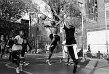 Basketball / AMH uses 90's inspired silhouettes including oversized drop shoulder t-shirts, sweatshirts, vest and street-ball shorts.