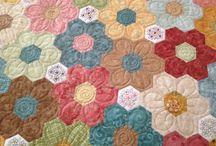 babiččina zahrádka,jojo / patchwork ,hexagon