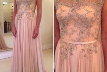 Custom Pink Lace Evening Gown / Designing a gown for my brothers wedding that includes an A-Line ballgown skirt and beaded off the shoulder lace bodice.