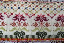 Pletení - barevné vzory - květiny