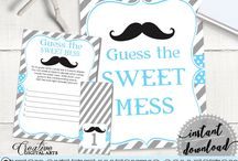 Baby Shower Products in Mustache Theme, Invitations, Games, Decorations And More / Hi, thank you for visiting this beautiful baby shower board with products in Mustache theme. Here, you'll find different invitations, games and activities, decorations and more with over 40 products in this theme.