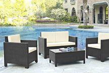 Black Garden Furniture Set Outdoor Lounge Sofa Chairs Coffee Table Rattan Patio