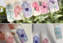 Watercolor nail art -Aquarrel