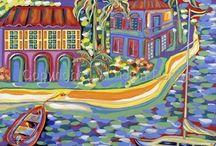 Coastal Art Paintings by Celesa Lucien / Coastal art paintings,seascapes,maritime,boats,island art,caribbean paintings,landscape,watercolor,oil,acrylic,beach