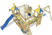 Toys Play Smart King Wooden climbing tower Frame With Swing Slide activity #ToysPlaySmartKingWooden