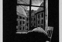Homme fenêtre nuit