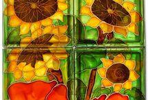 Handgemalte glasbausteine kunst