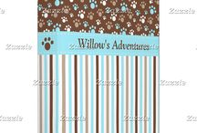 Brown and Blue Golden Puppy Dog Birthday / This collection features a cute golden puppy or dog. The background consists of blue and brown paw prints and a brown and purple stripe ribbon.